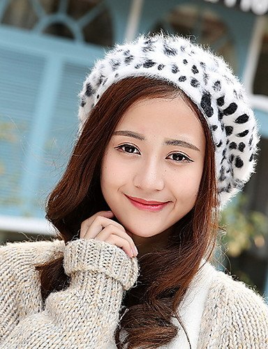 Women Hat Beret Caps Printing Casual GSM Autum Winter Vintage Leopard ONESIZE Wool Octagonal Dot CZxxqAw57