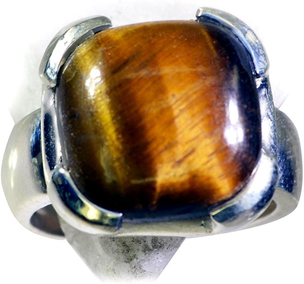 CaratYogi Natural Tiger Eye Sterling Silver Promise Ring Cushion Shape Bezel Style Size 6 7 8 9 10 11 12