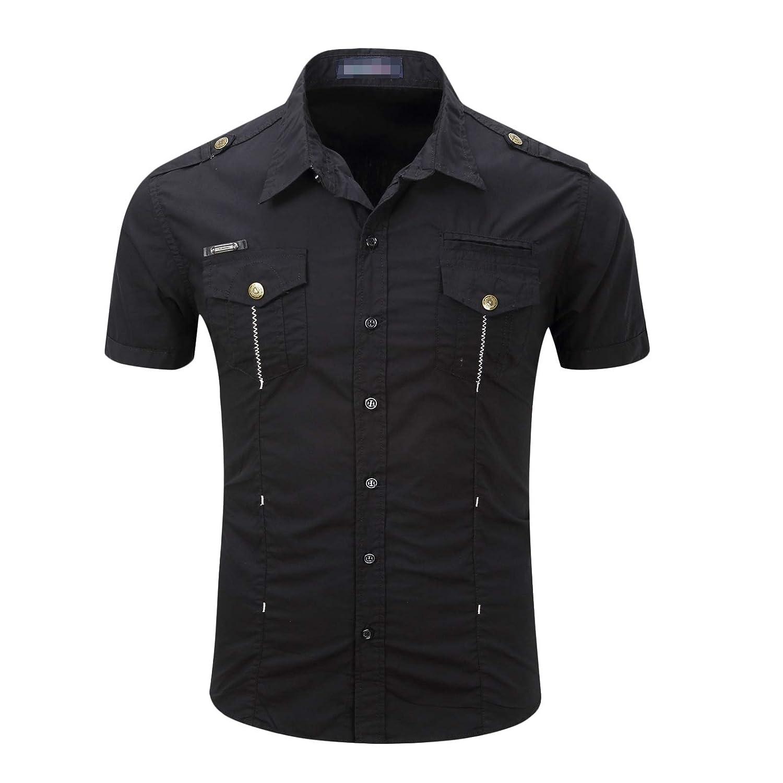 Winwinus Men Short Sleeves Cotton Button Lapel Plus Size Pockets T-Shirts Shirt