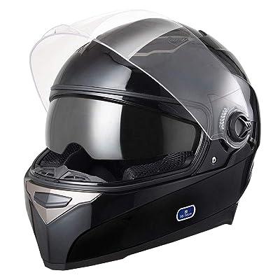 AHR DOT Motorcycle Full Face Helmet Dual Visors Sun Shield Street Bike Motorbike Touring ABS Helmet: Automotive