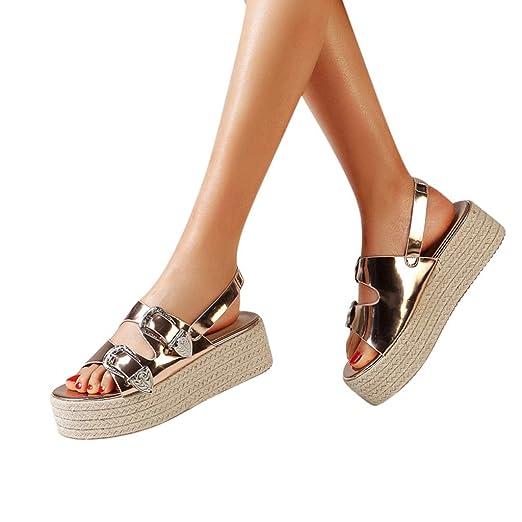 VECDY Sandalias Mujeres Zapatillas Mujer De Punta Abierta para ...