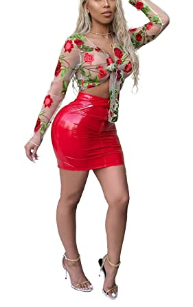 f87334146fc093 Aleng Women s Sexy 2 Piece Outfits Clubwear Floral Embroidery Mesh Crop Top  PU Skirt Set Bodycon