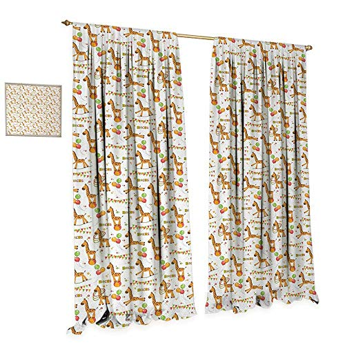Anniutwo Giraffe Blackout Window Curtain Circus Pattern with Playful Cartoon Characters Colorful Flags Balloons Hula Hoops Customized Curtains W108 x L96 Multicolor ()