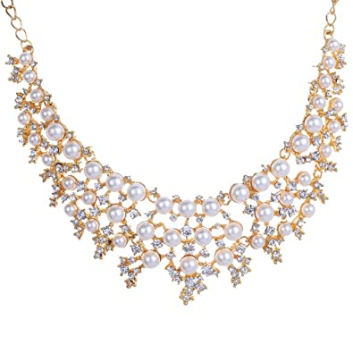 Yazilind Rose Gold Cream Faux Pearl Crystal Collar Chunky Bib Earrings Necklace Jewelry Set aH4tBj1