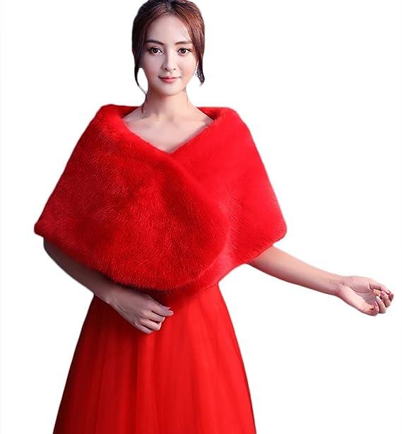 Insun Faux Fur boda Chal de abrigo perfecto para boda fiesta Rojo: Amazon.es: Ropa y accesorios
