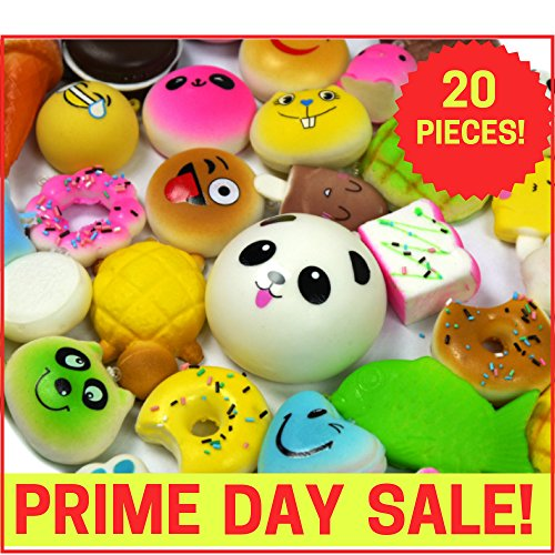 Squishies Slow Rising Squishy Toys-20pc Squishies Pack Of Jumbo, Medium & Mini Soft Panda Squishy, Cake, Buns and Donut Toys.Includes Keychain Straps.Best Cream Scented Gift Package For Boys & (Bun Play Food)