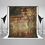 Kate USA Style Background Photography American Map Statue of Liberty American flag No Wrinkle Seamless Cotton Backdrops for Photography Studio 5x7ft