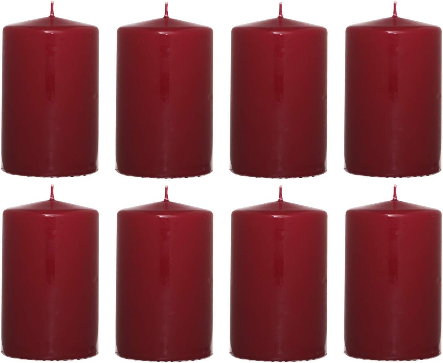 color burdeos 8 cm de alto Juego de 8 velas decorativas en set velas de cera 4,8 cm de di/ámetro Smart-Planet/® Velas Ambiente
