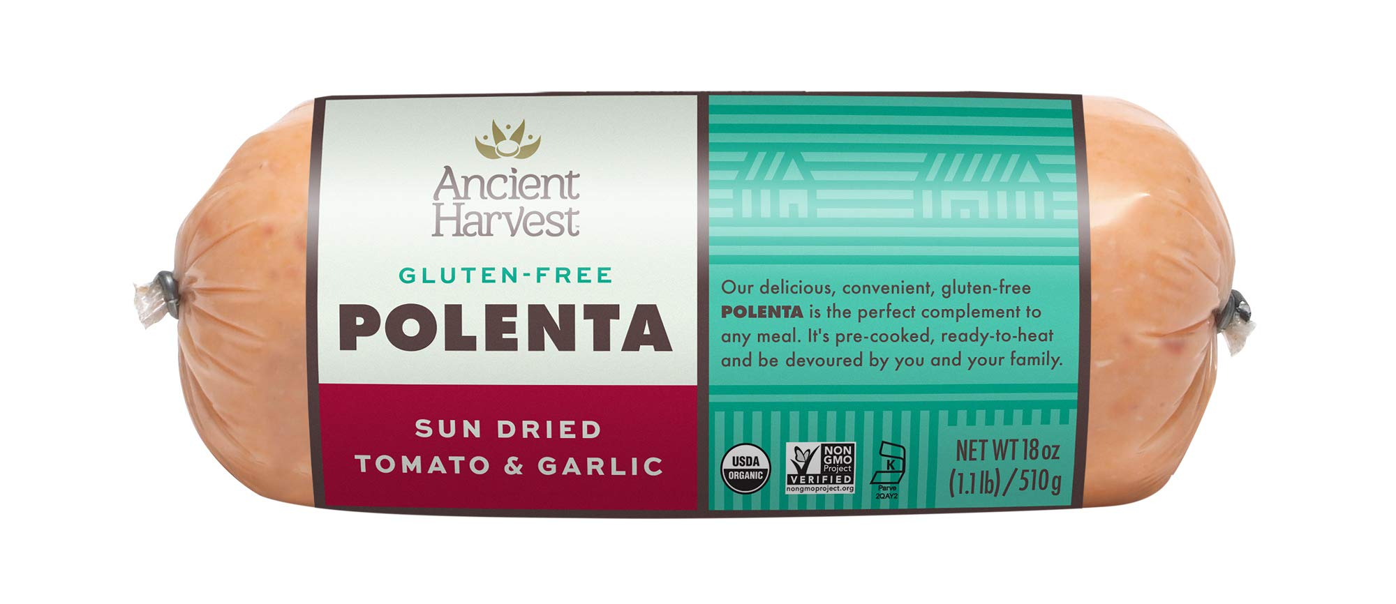 Ancient Harvest Certified Organic Polenta, Sundried Tomato & Garlic, Gluten Free, Ready To Heat And Serve, 18 oz (Pack of 12) by Food Merchant