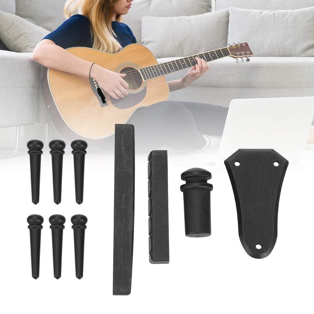 Madera de /Ébano Guitarra Pin de Puente Truss Rod Cover Saddle Nut End Pin para Accesorios de Guitarra Dilwe Guitarra Partes Set Kit