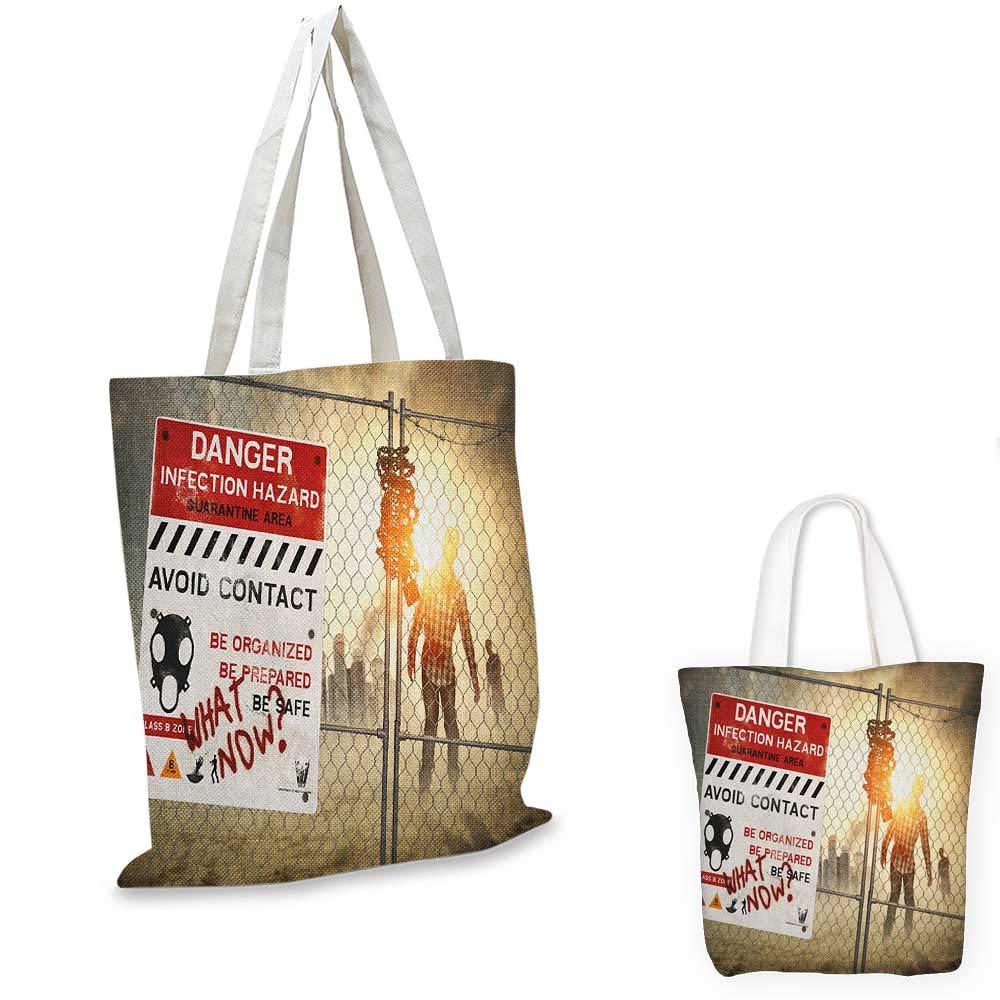 Zombie canvas messenger bag Warning Signs for Evil Creatures Paranormal Construction Design Do Not Open Artwork canvas beach bag Multicolor 12x15-10