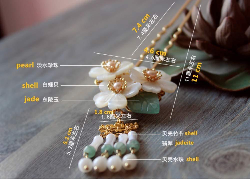 Original Handmade Brass Classical Hair Clasp Shell Pearl Decor Chinese Traditional Style Hair Sticks Shawl Pins Picks Hair Sticks, Hairpin (L : 15.00 cm) (15 cm) (15 cm) by smilepunk