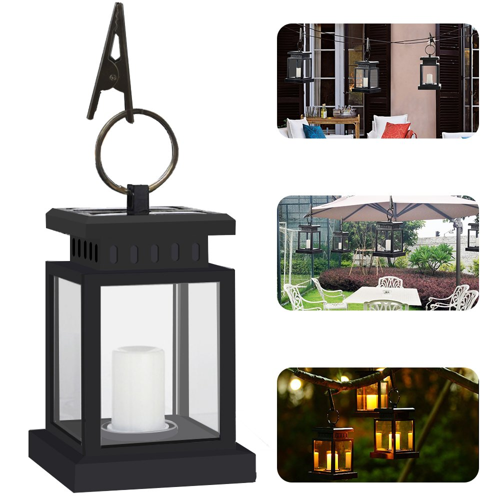 Hanging Solar Lights Yellow Light, Pack of 4 Sunklly Waterproof LED Outdoor Candle Lantern Decorated in Garden Patio Deck