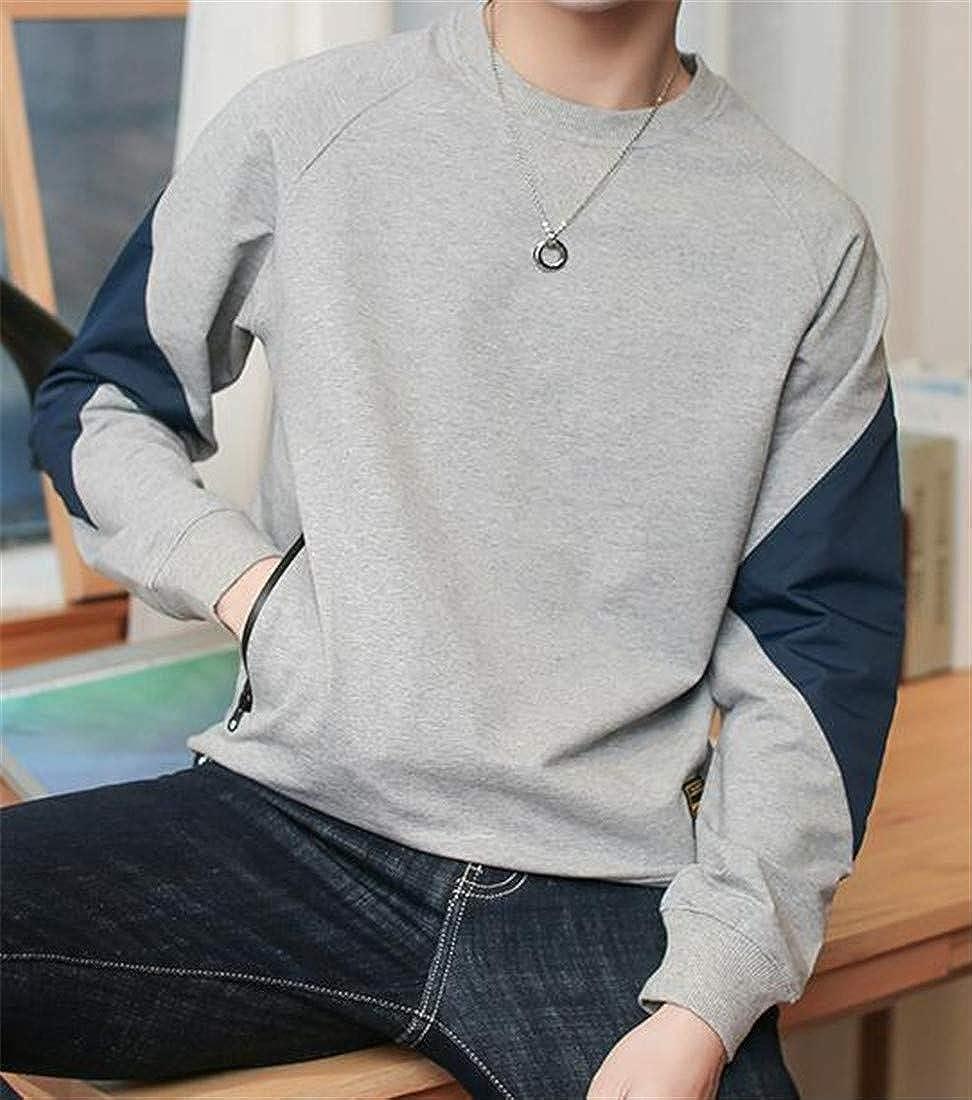 Hajotrawa Men O-Neck Long Sleeve Spell Color Casual Pullover Sweatshirts Jacket