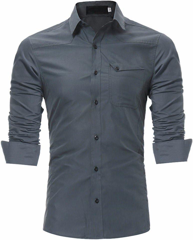 GK Hombre Camisa Moda Casual Camisa de Vestir Slim Fit Los ...