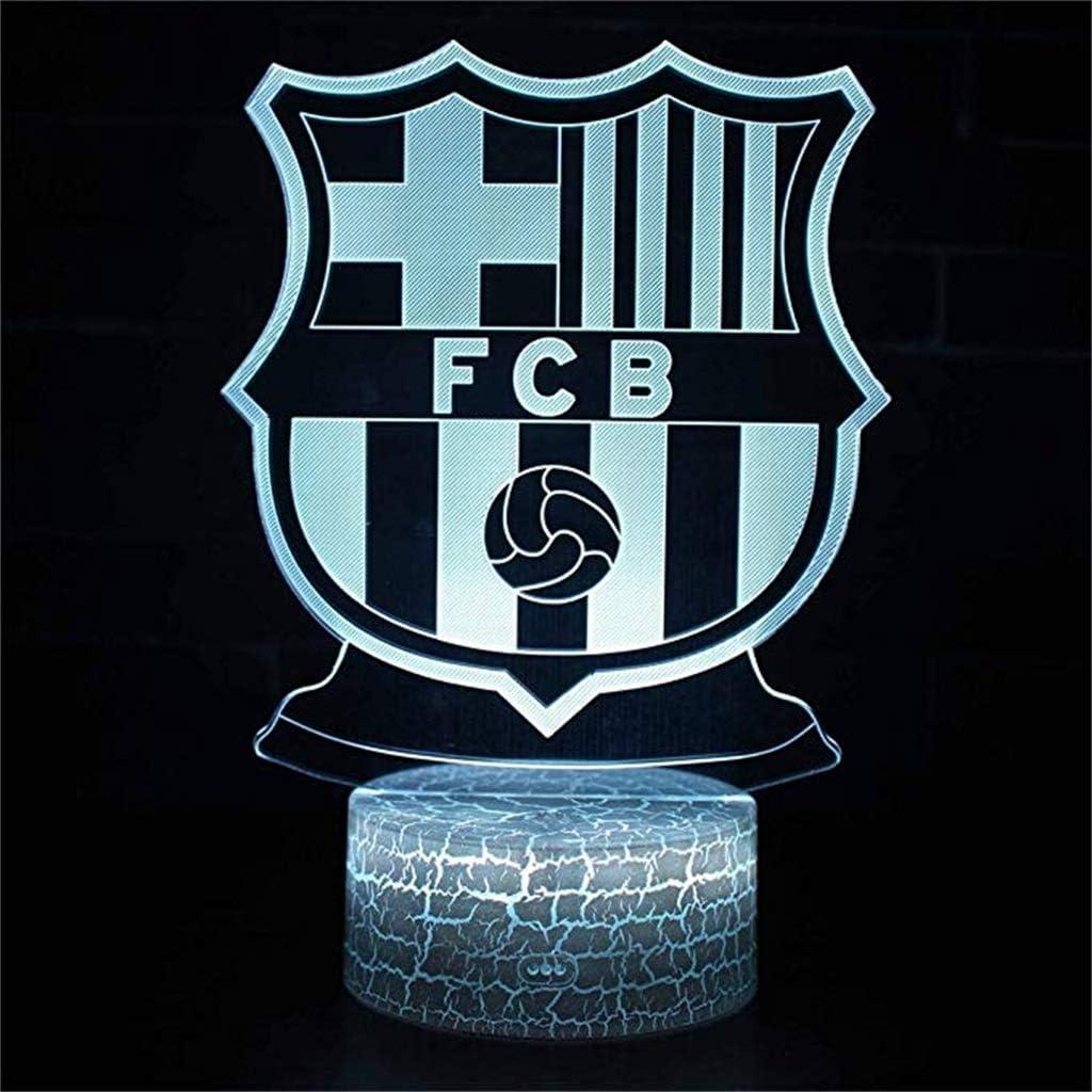 HLHHL-Lamp Lumi/èRes D/éCoratives /à LED//Veilleuses 3D Base De Crack 7 Variations De Couleurs Barcelona Club Cadeaux De D/éCoration C/âBle USB Panneau Acrylique