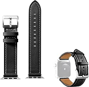 GONWEN Genuine Leather Watch Straps Compatible with Apple Watch Band (42mm-44mm), Wristbands Replacement for iWatch Series 6 5 4 3 2 1 SE Series