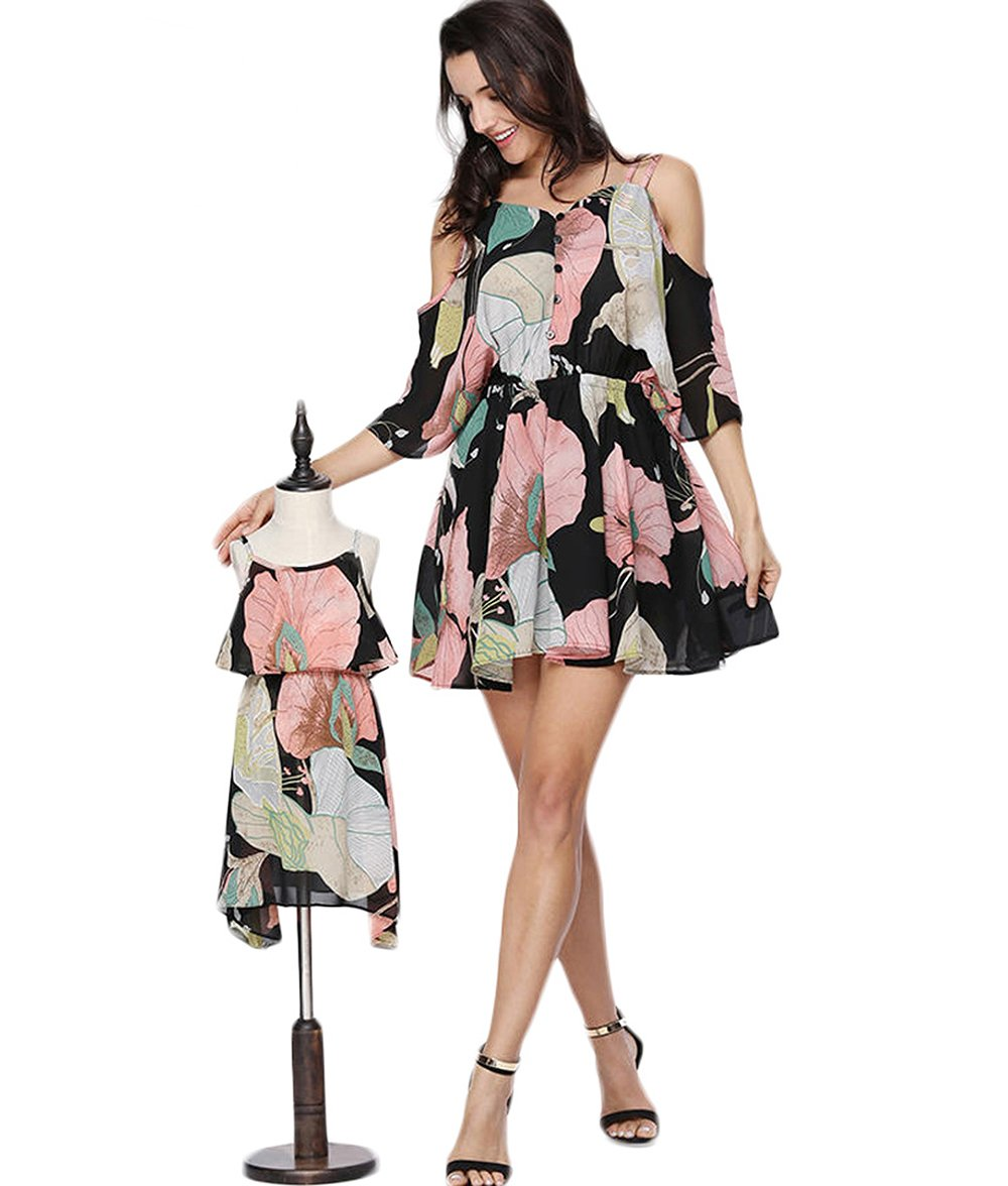 PopReal Mom and Girl Cute Shoulder-Straps Off Shoulder Floral Printed Chiffon Casual Playwear Dress by PopReal (Image #1)