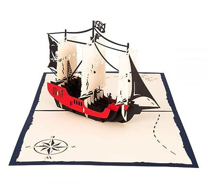 Barco Pirata – 3d tarjeta de/Pop Up tarjeta/tarjeta plegable para ...