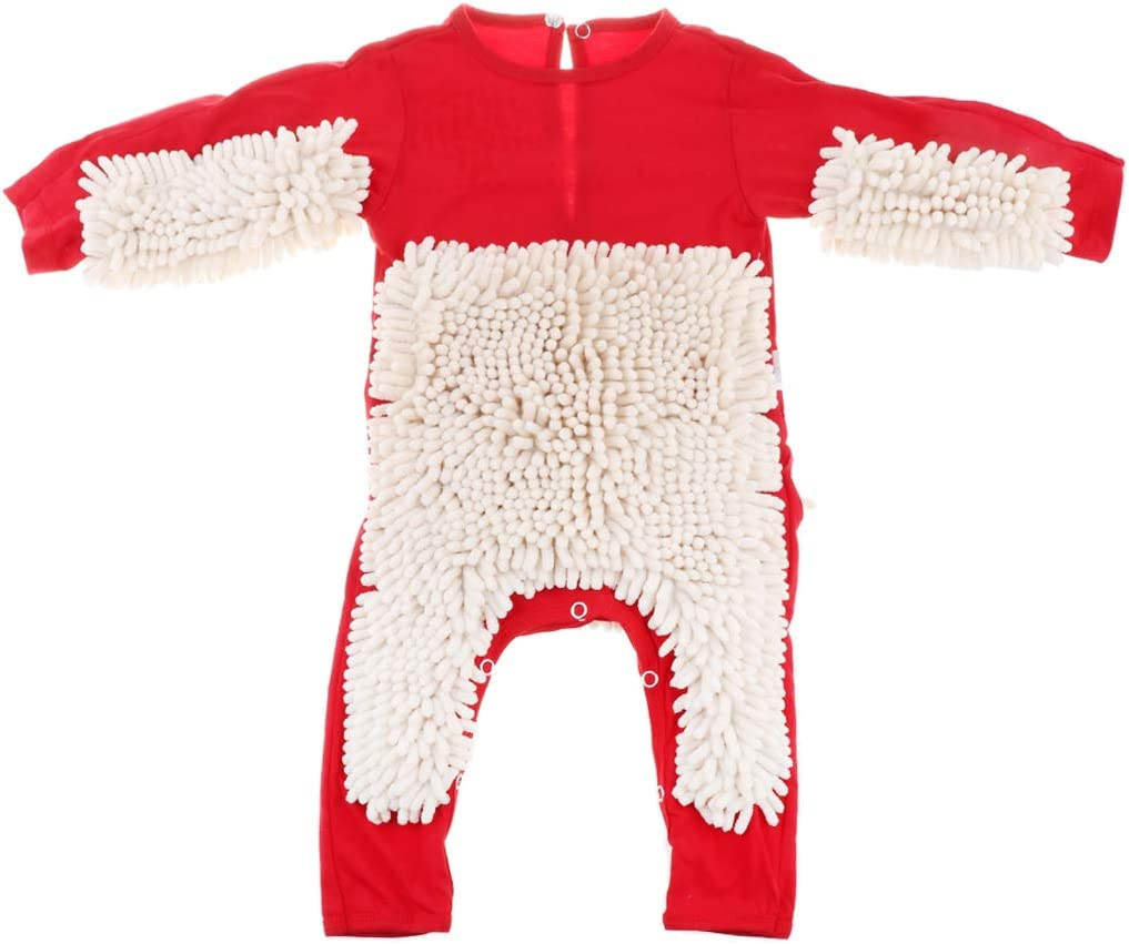 90cm Baby Romper Clothes Crawling Jumpsuit Cleaning Mop Red+Beige