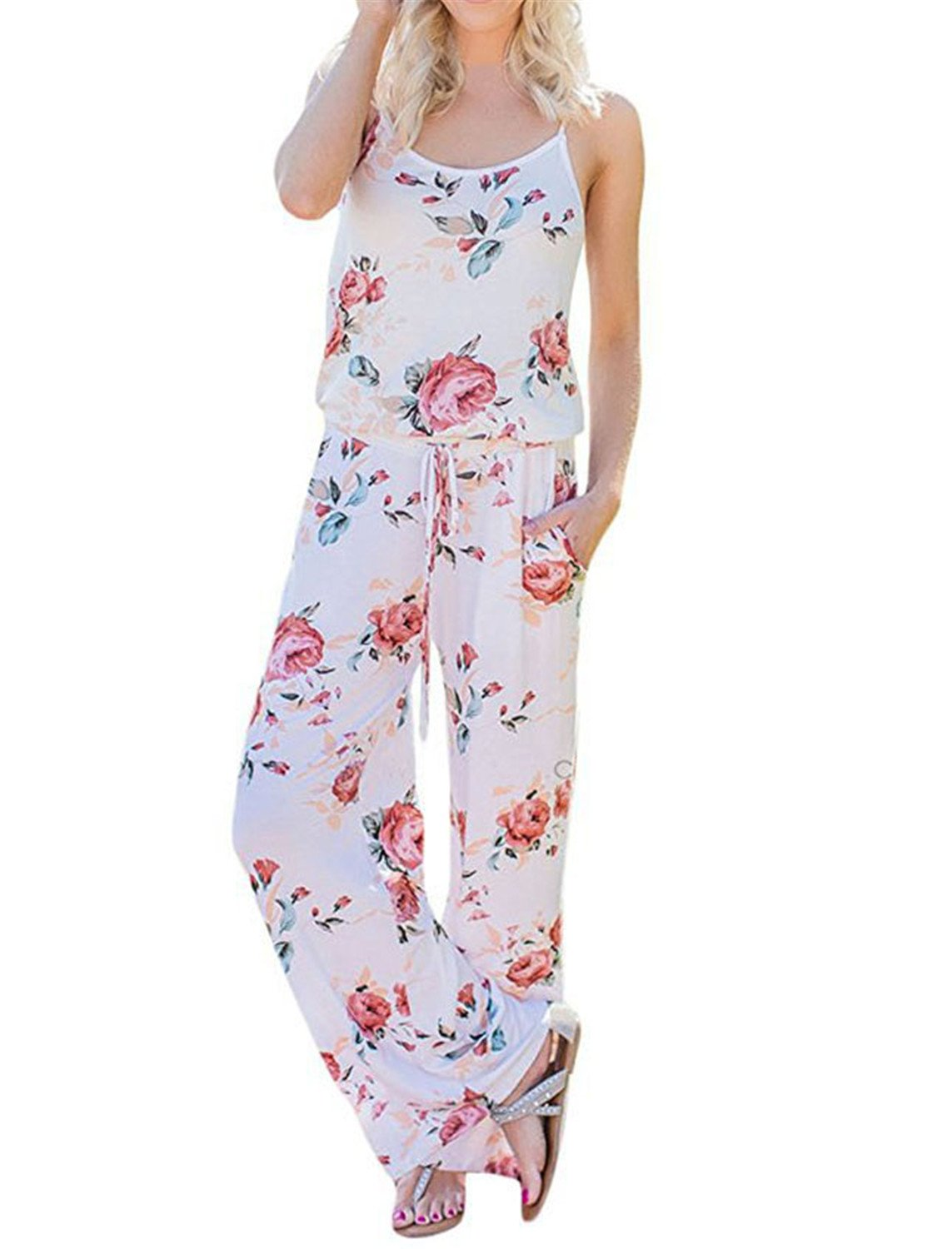 2018 Kawaii Floral Women Jumpsuit Fashion Spaghetti Strap Long Playsuits Casual by Rainlife jumpsuits