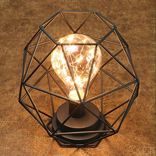 Table Desk Accent Lamp - Wire Polygon Sculpture Led Light - 12