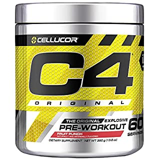 C4 Original Pre Workout Powder Fruit Punch - Vitamin C for Immune Support - Sugar Free Preworkout Energy for Men & Women - 150mg Caffeine + Beta Alanine + Creatine - 60 Servings