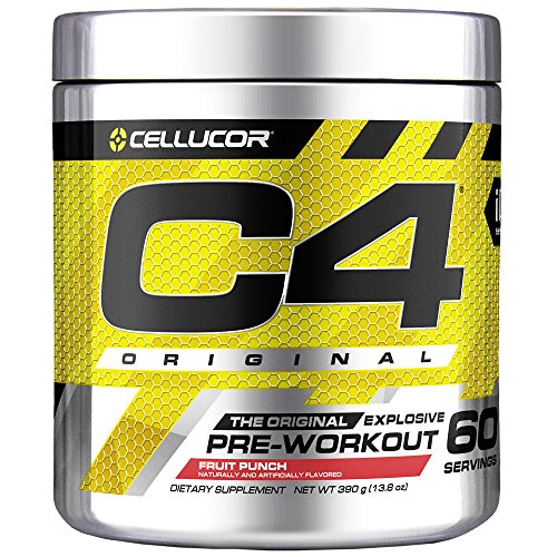 (Cellucor C4 Original Pre Workout Powder Energy Drink w/ Creatine, Nitric Oxide & Beta Alanine, Fruit Punch, 60 Servings)