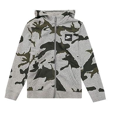8c0d3363c73d Nike Boys Youth Camo Club Fleece Full-Zip Hoodie (Camo Grey