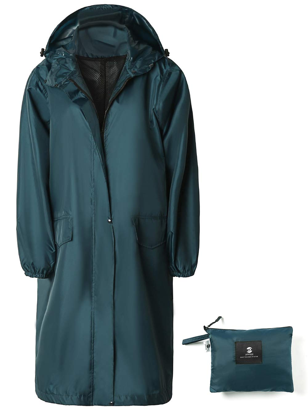 SaphiRose Women's Long Rain Jacket Waterproof Lightweight Hooded Raincoat