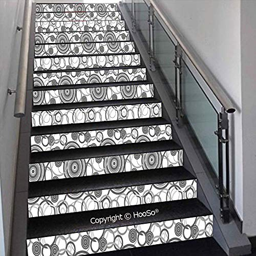 PUTIEN Self-Adhesive Stair Risers Stickers Vinyl Staircase Stickers Stairway Decal Wallpaper, Waterproof, Anti-Stain,Retro 70s Like Vintage Circles and Rounds Water Drops Like I,39.3