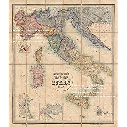 Tomorrow sunny 1859 Italy ancient maps Silk Poster Bedroom Wall Decor 24*36inch
