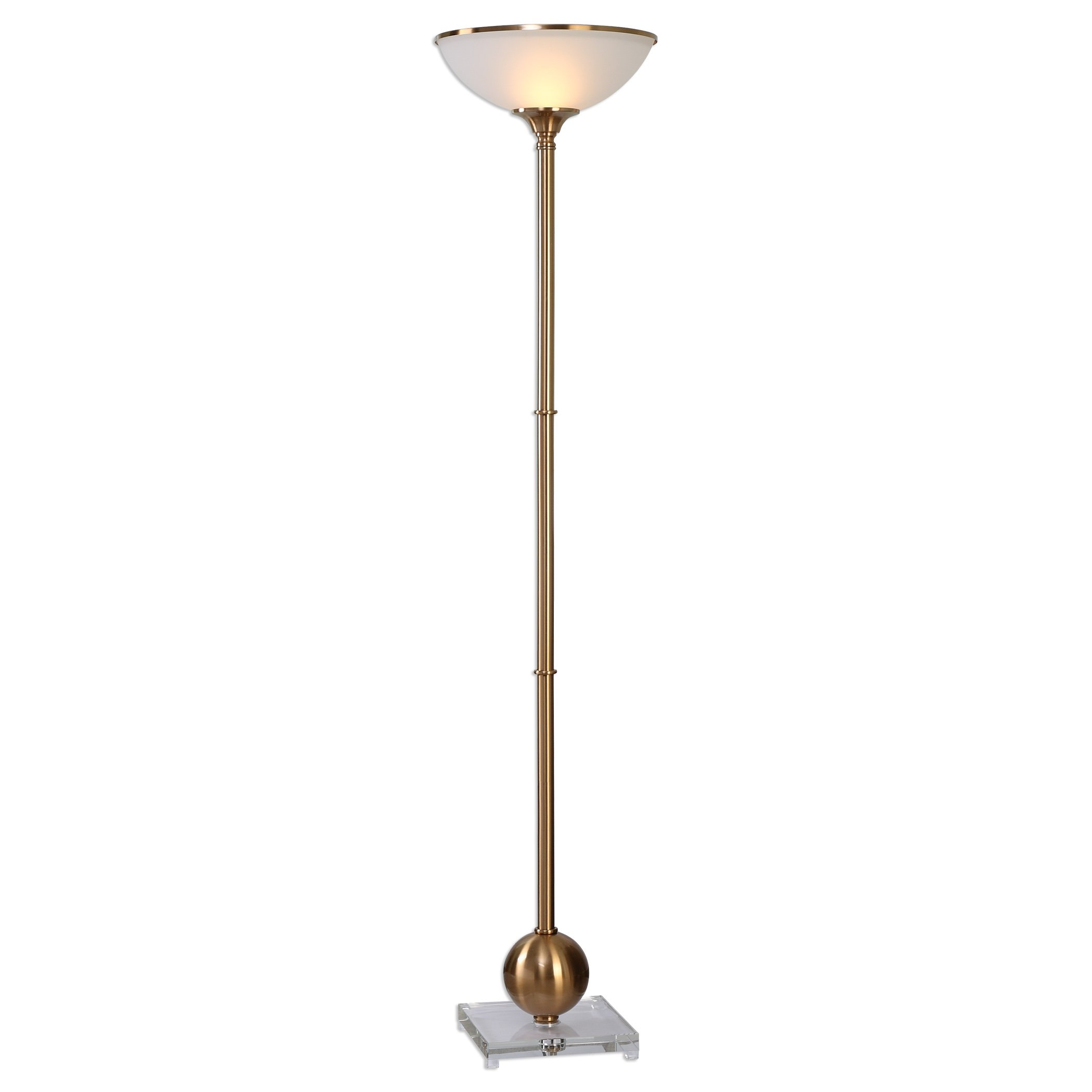 Luxe Brushed Brass Sphere Column Floor Lamp | Frosted Glass Shade Uplight Gold by My Swanky Home
