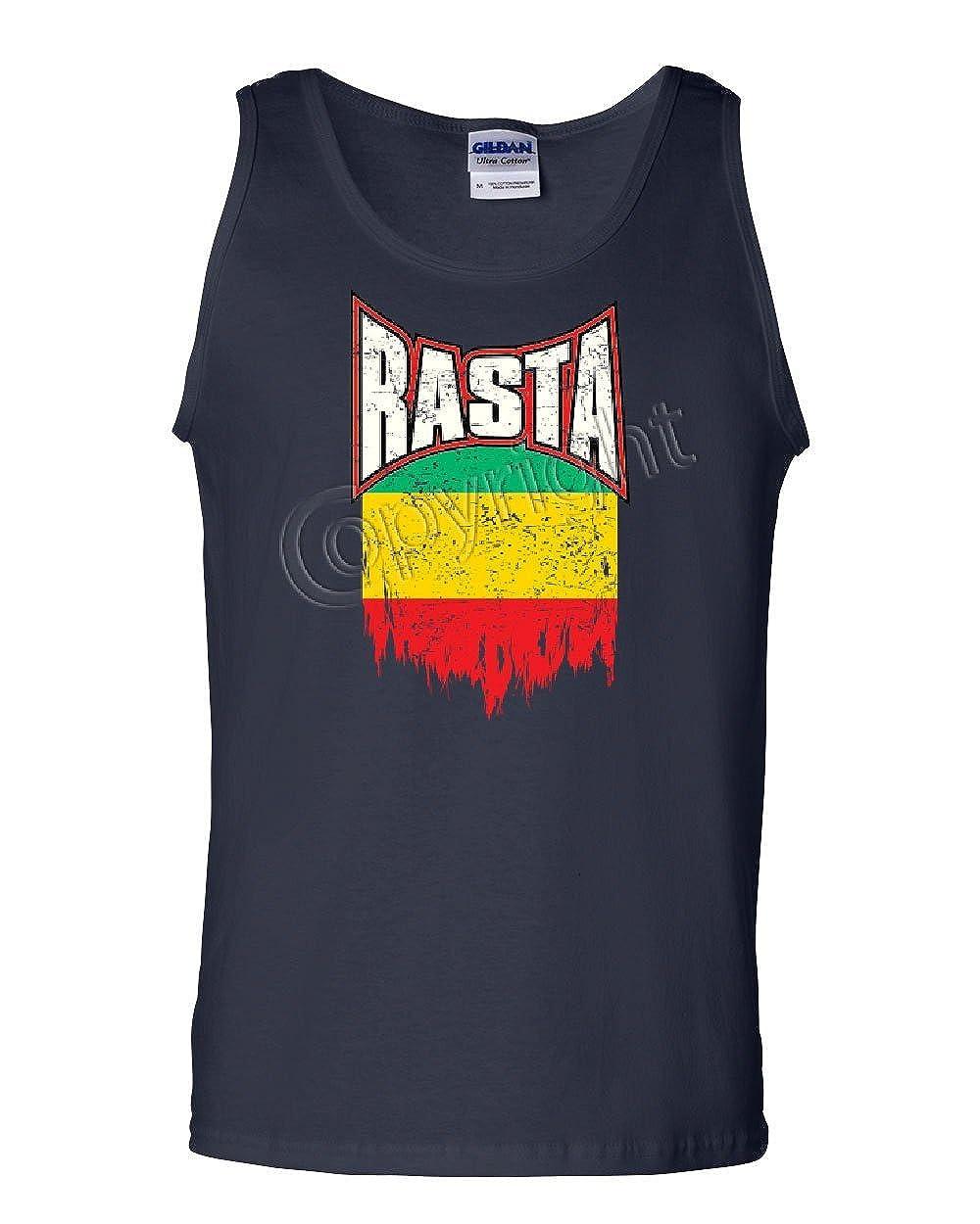 Tee Hunt Distressed Rasta Flag Tank Top Smoking 420 Reggae Marijuana Weed Sleeveless
