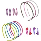 minihope thin headbands for girls,plastic headbands for kids, 8 Piece count,snap hair clips for girls 8 count.…