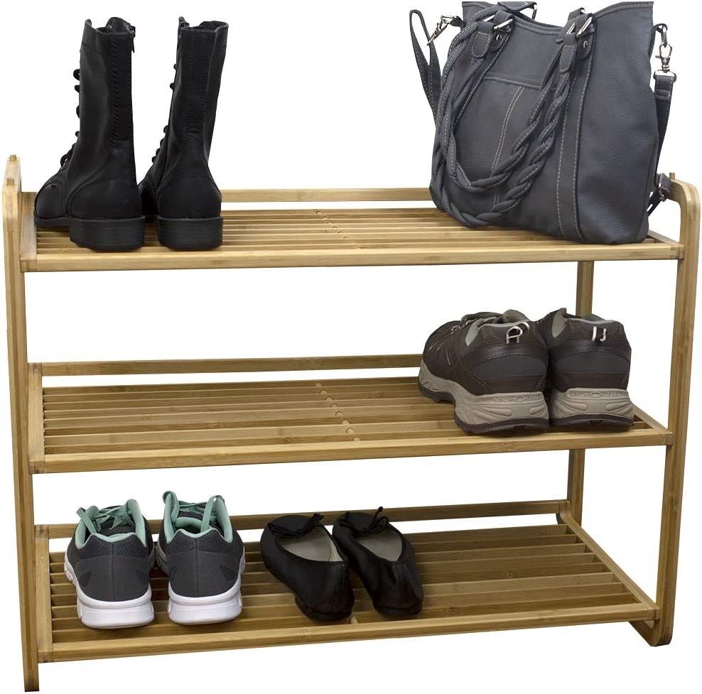 Home Basics 3 Tier Bamboo Rack Tower Shelf Organizer | Free Home Storage | Durable Heavy-Duty Shelves Stand Fits 9 Pairs Entryway and Shoe Closet, Light Brown