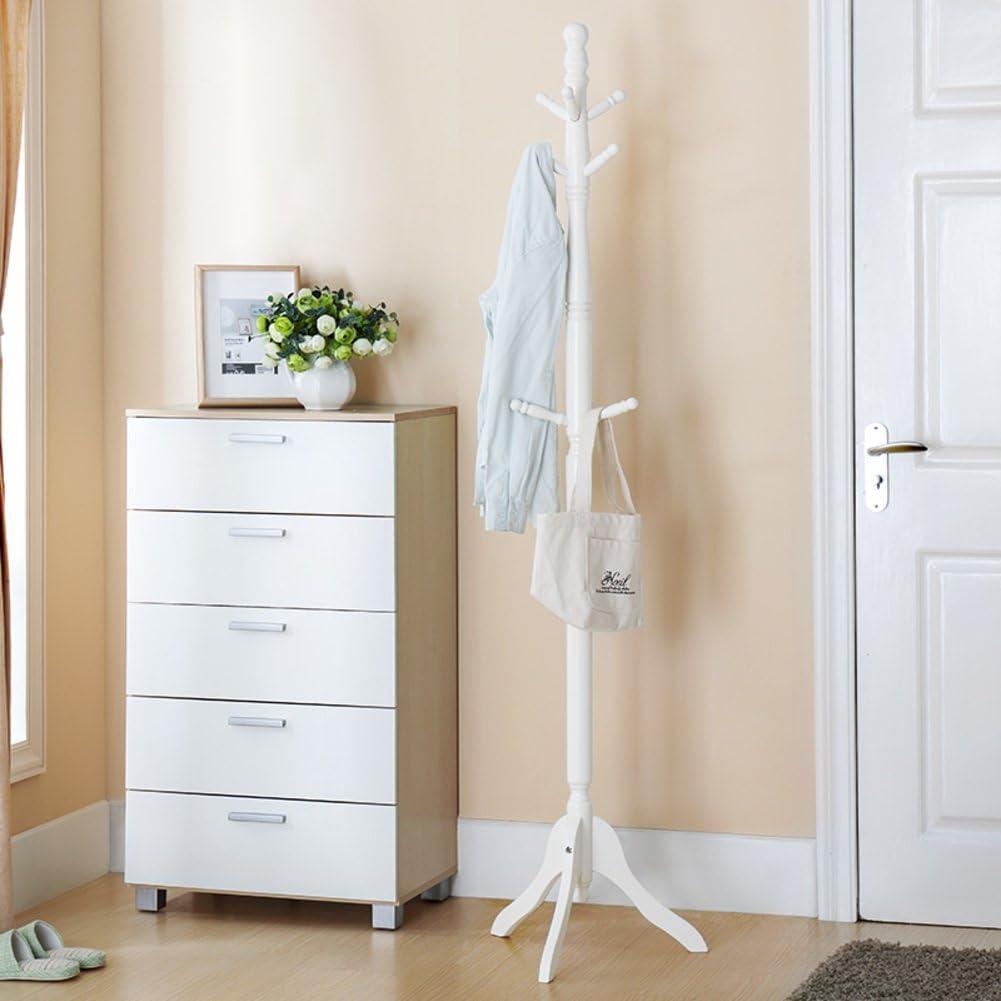 D&L Furnishing Wood Coat Rack,Coat Stand Multifuctional Sturdy Tripod Base 8 Hooks Cloakroom Bedroom Living Room Hat Coat Jacket Scarf-A 72.4x19.7inch(184x50cm)