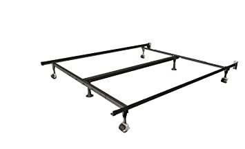 insta lock queen king and cal king bed frame with rug rollers and - Adjustable Bed Frames