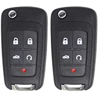 Keyless2Go Replacement for New Keyless Remote 5 Button Flip Car Key Fob for Vehicles That Use FCC OHT01060512 (2 Pack)