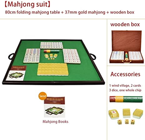 Mah Jong Set Mahjong Portátil Inicio Mahjong 144 Mesa Plegable Mahjong con Caja Mahjong Traje de Juego Juegos Tradicionales (Color : Gold, Size : 37mm): Amazon.es: Hogar