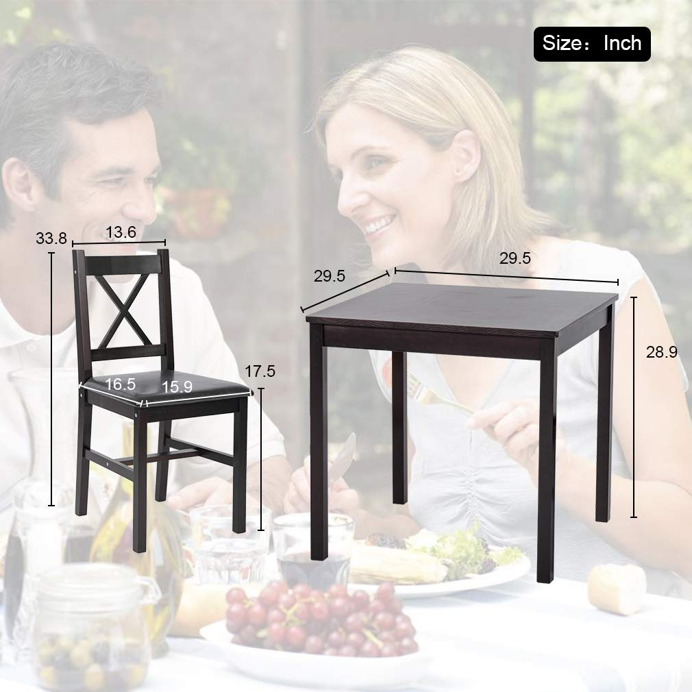 BestMassage Dining Kitchen Table Dining Set 3 Piece Wood in Door Square Small Farmhouse Dining Room Table Set Table and Chair for 2 Person, Dark Brown by BestMassage (Image #7)