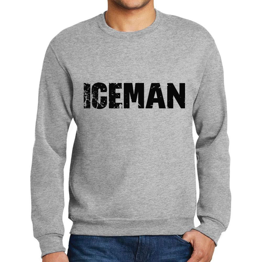 Ultrabasic Men/'s Printed Graphic Sweatshirt Popular Words Iceman Grey Marl