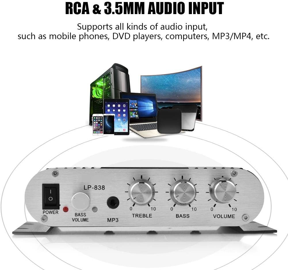 Black ASHATA Power Amplifier Stereo Amplifier,Digital Amp Mini HiFi 2.1 Stereo Bass Auto Car Home Audio Power Amplifier with RCA /& 3.5mm Audio Input,Two Pairs of Speaker Output Clips