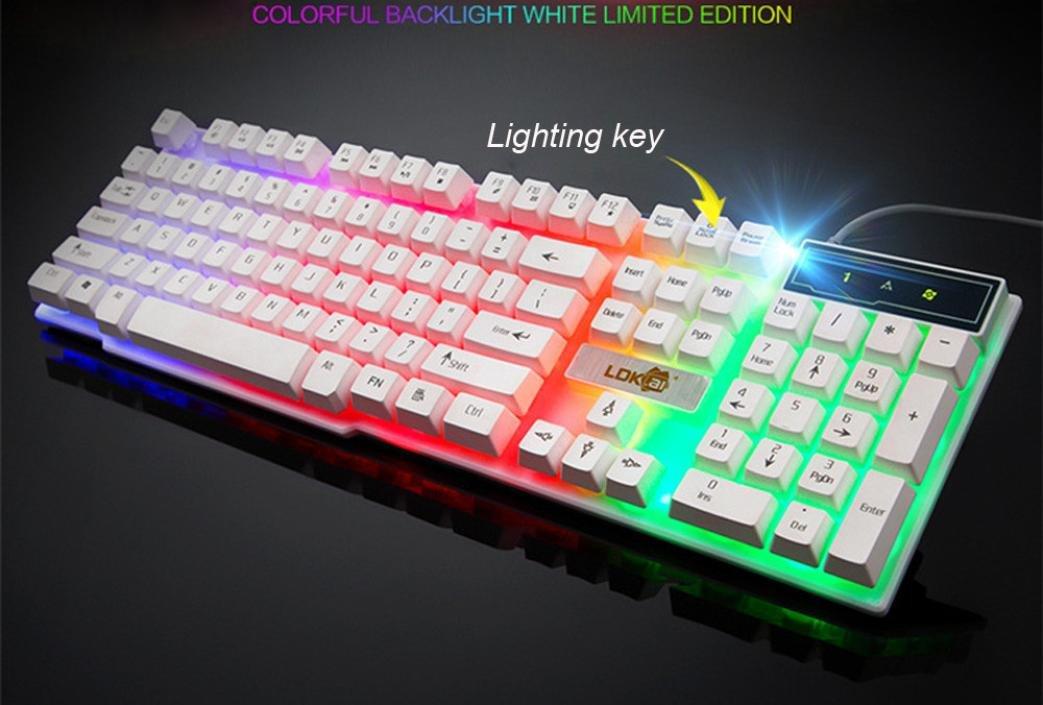 Teclado Colorido Grieta, LED Iluminado Con Cable Usb Retroiluminado PC Keyboard de Juego Rainbow (Blanco): Amazon.es: Iluminación