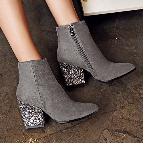 Meotina Brand Ankle Designer High Heels Women Ankle Brand Boots Zip Glitter Thick Heel Ladies Boots Winter B077QZ1B97 5 B(M) US|Grey 07ae03