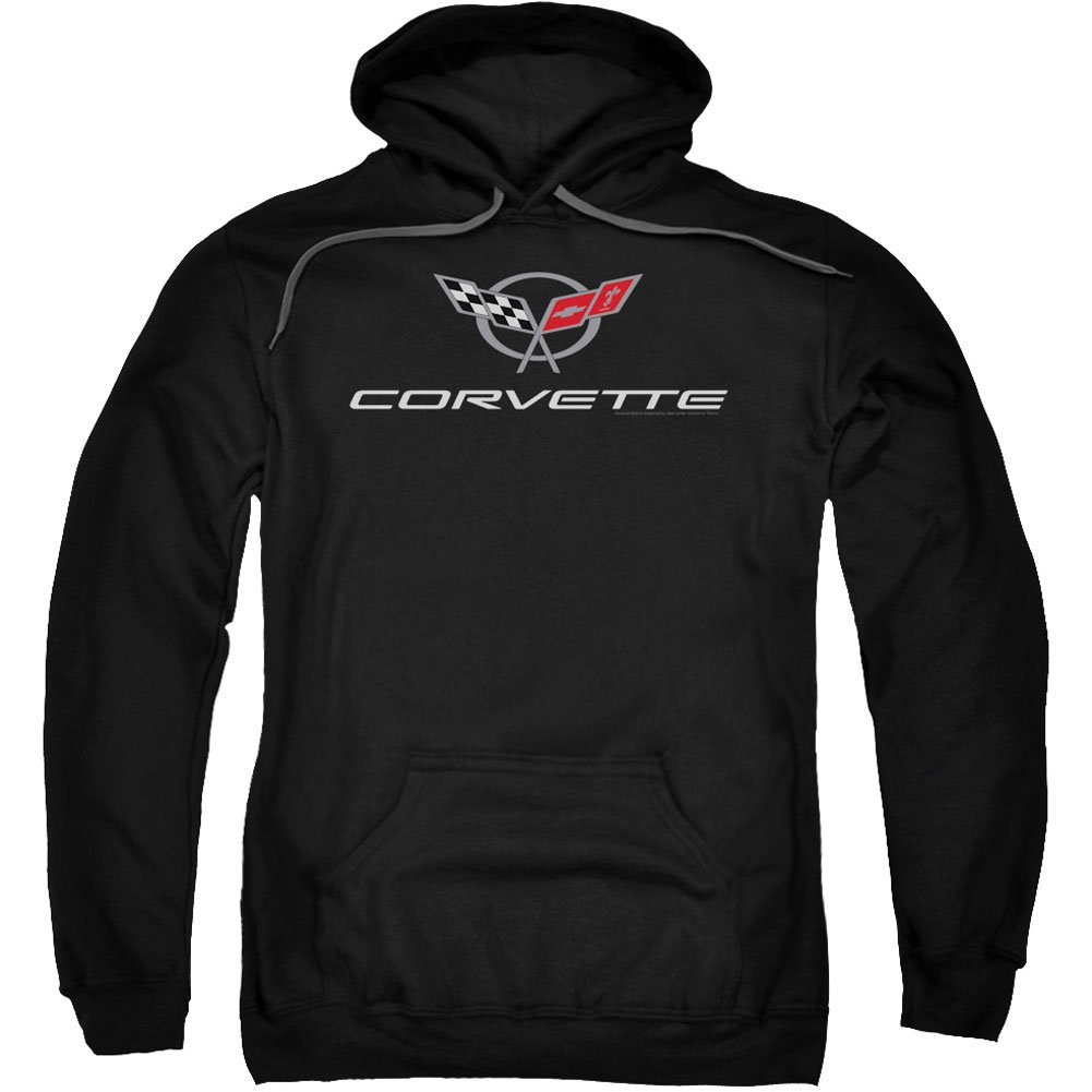 Chevrolet Automobiles Chevy Modern Corvette Emblem Adult Pull-Over Hoodie Trevco