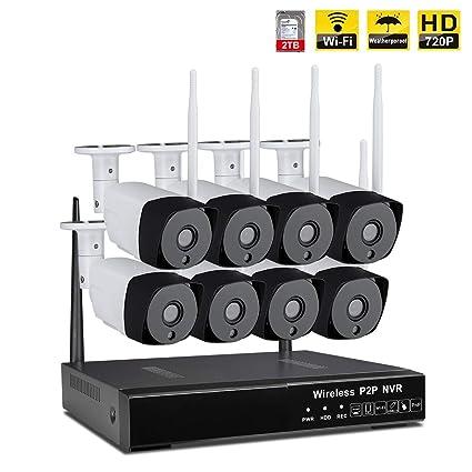 IMATEK Kit de cámara de vigilancia inalámbrica 8CH 720P HD NVR,c / 8 cámaras