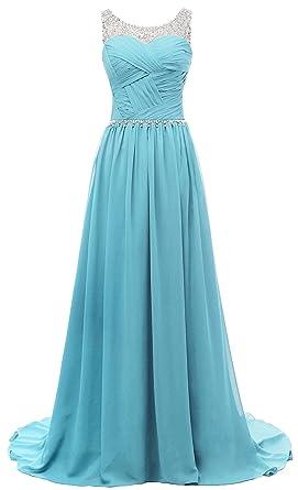 Eudolah Damen Abendkleider Elegant Ballkleider lang Maxi Bunte Kleider  Hellblau Gr.4