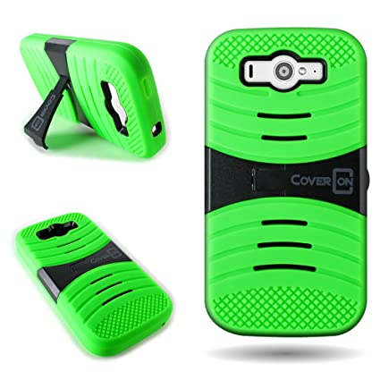 release date f970d 034b8 CoverON for ZTE Imperial II Case - [Titan Armor Series] Hybrid Hard and  Soft Shockproof Dual Layer Protective Phone Cover with Kickstand - Neon  Green ...