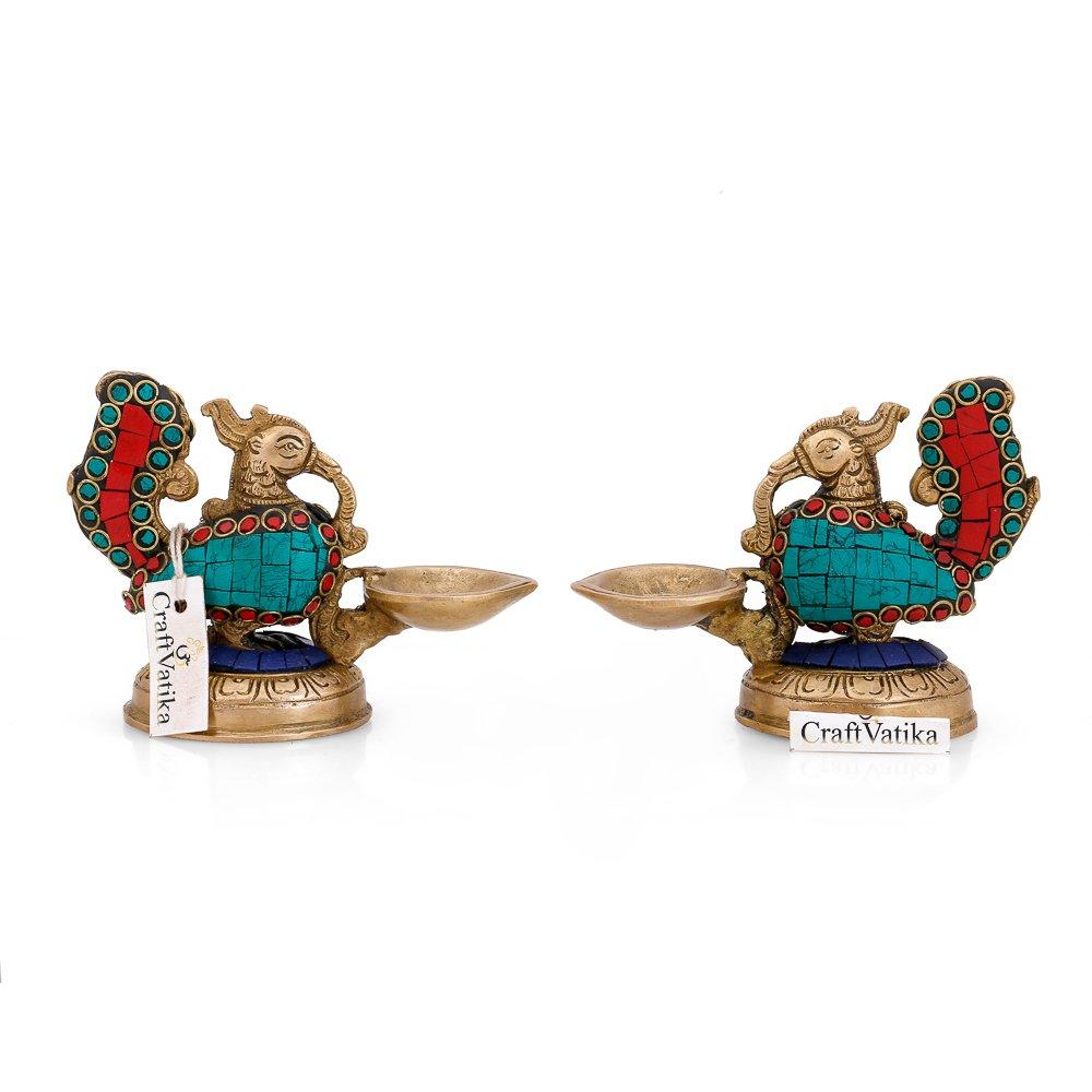 CraftVatika Brass Diya Oil Lamp Handmade Pair of Peacock Bird Diya Oil Lamp Stand Holder -Hindu Religious Puja Art Fengshui Gifts